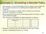 example 2 simulating a reorder policy