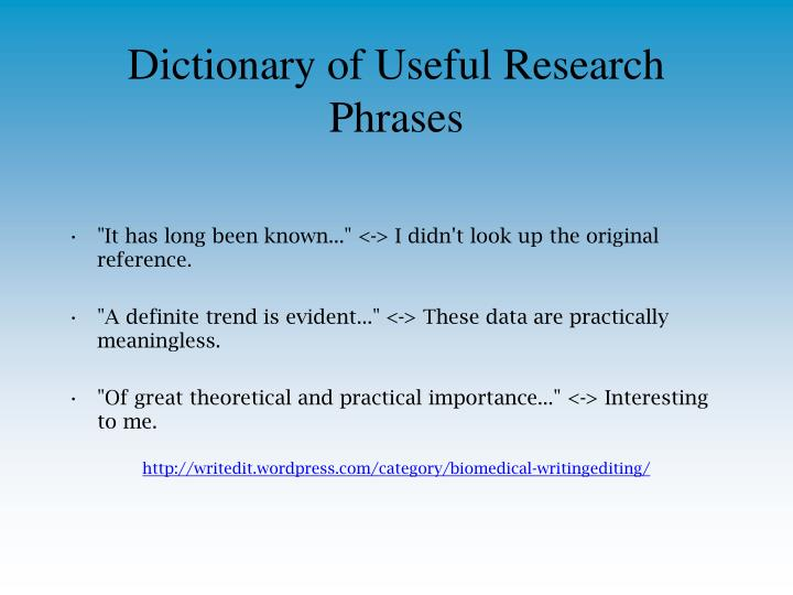 Dictionary of Useful Research Phrases