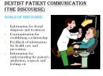 dentist patient communication the discourse