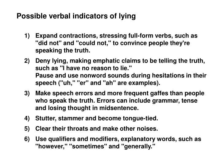 Possible verbal indicators of lying