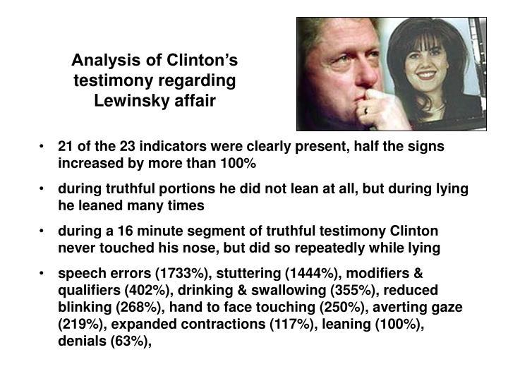 Analysis of Clinton's testimony regarding Lewinsky affair