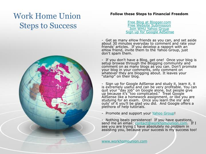 work home union steps to success n.