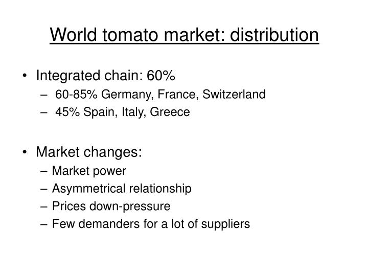 World tomato market: distribution