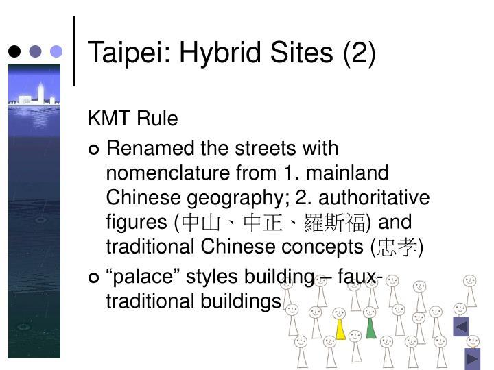 Taipei: Hybrid Sites (2)