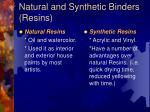 natural and synthetic binders resins
