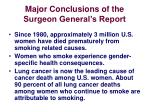 major conclusions of the surgeon general s report1