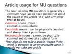 article usage for mu questions
