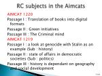rc subjects in the aimcats