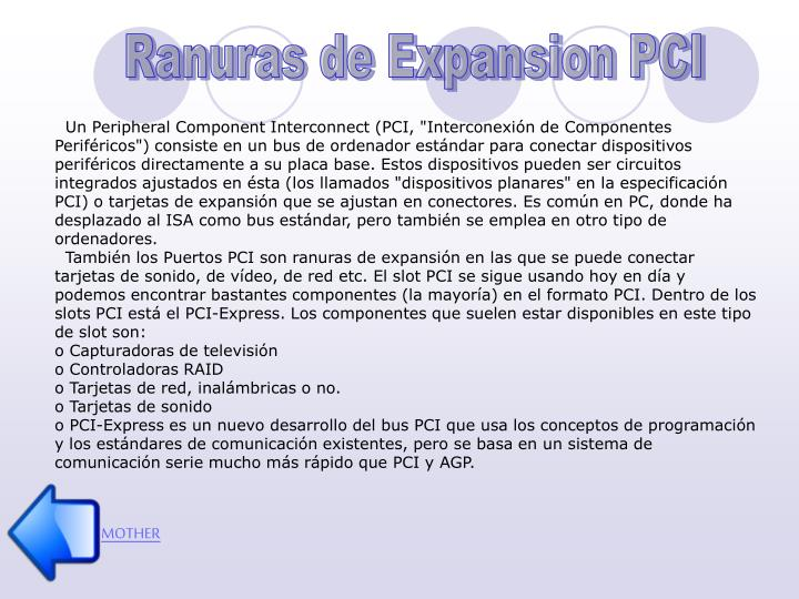 Ranuras de Expansion PCI