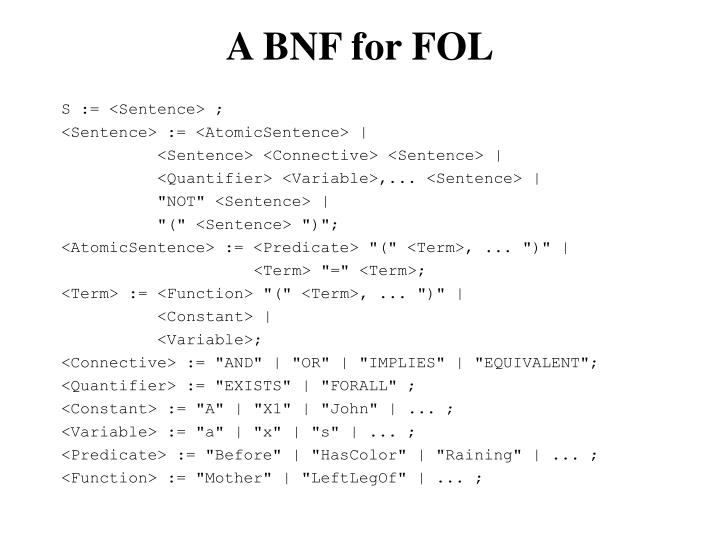 A BNF for FOL