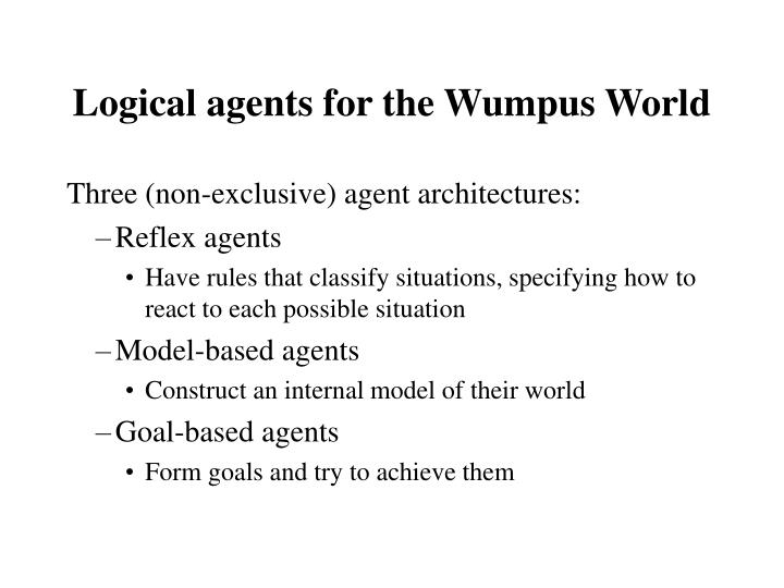 Logical agents for the Wumpus World