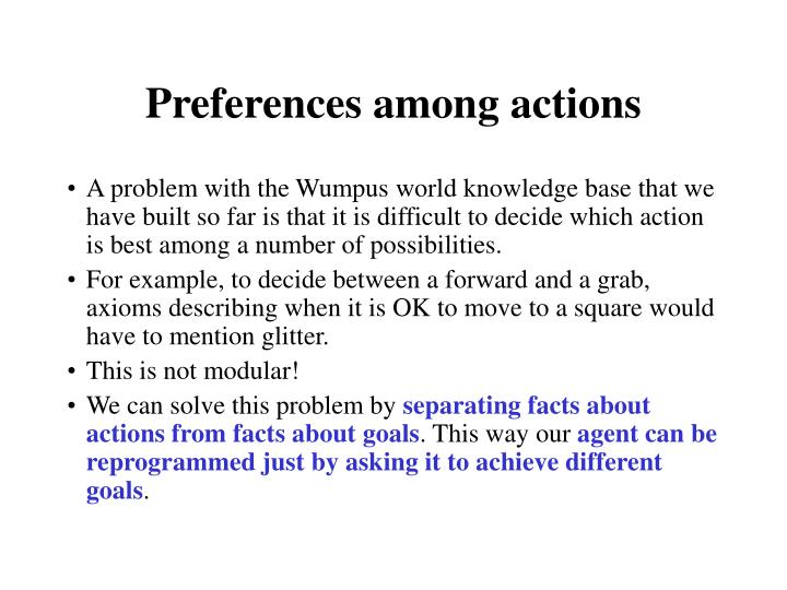 Preferences among actions