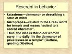 reverent in behavior