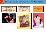 advertising as offensive or in bad taste
