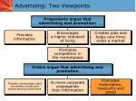advertising two viewpoints