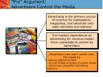 pro argument advertisers control the media