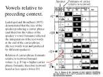 vowels relative to preceding context