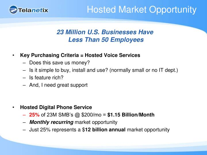 Hosted Market Opportunity
