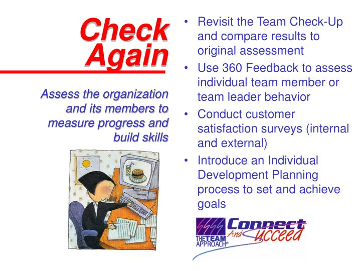 Revisit the Team Check-Up and compare results to original assessment
