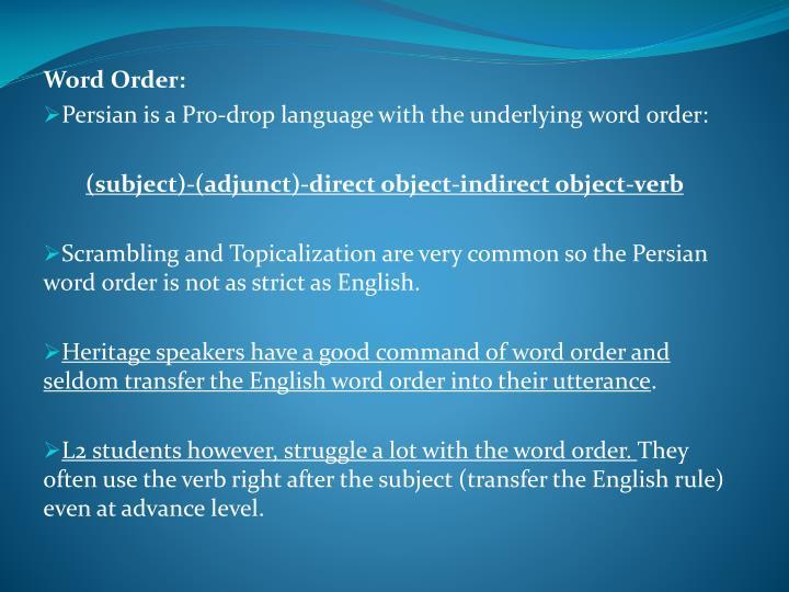 Word Order: