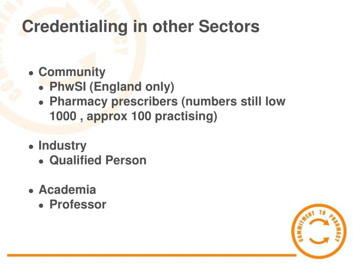 Credentialing in other Sectors