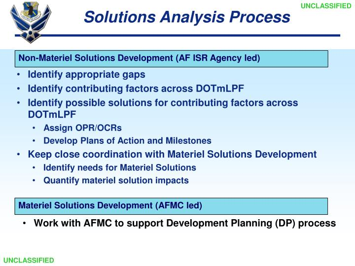 Solutions Analysis Process