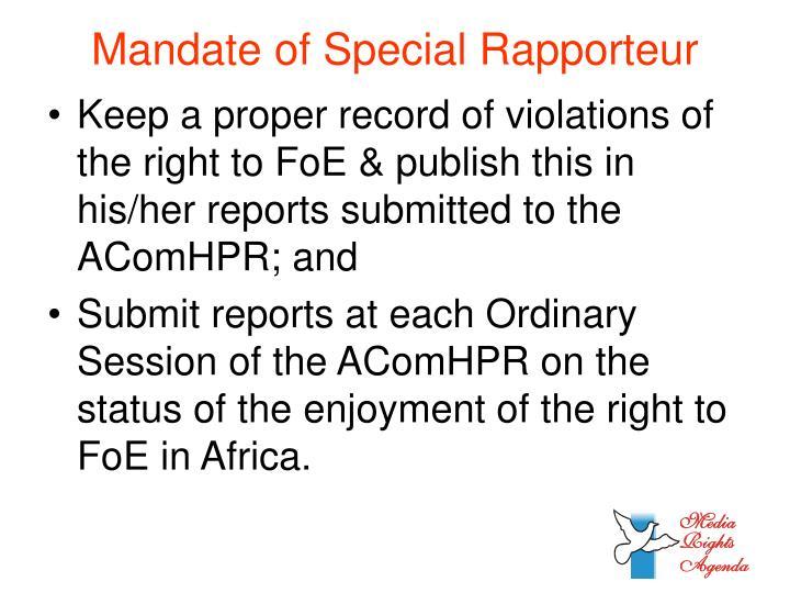 Mandate of Special Rapporteur