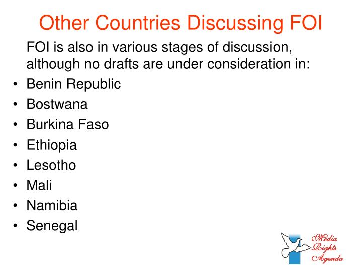 Other Countries Discussing FOI