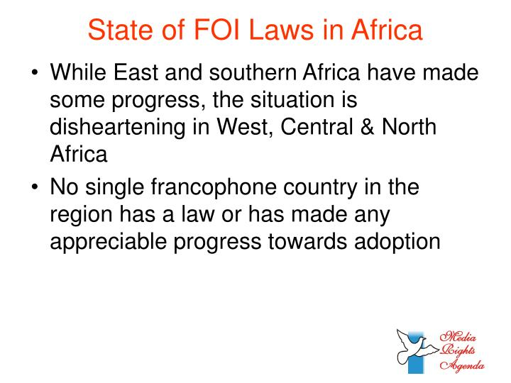 State of FOI Laws in Africa