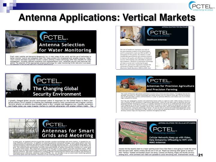 Antenna Applications: Vertical Markets