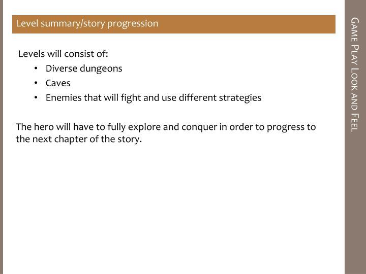 Level summary/story progression