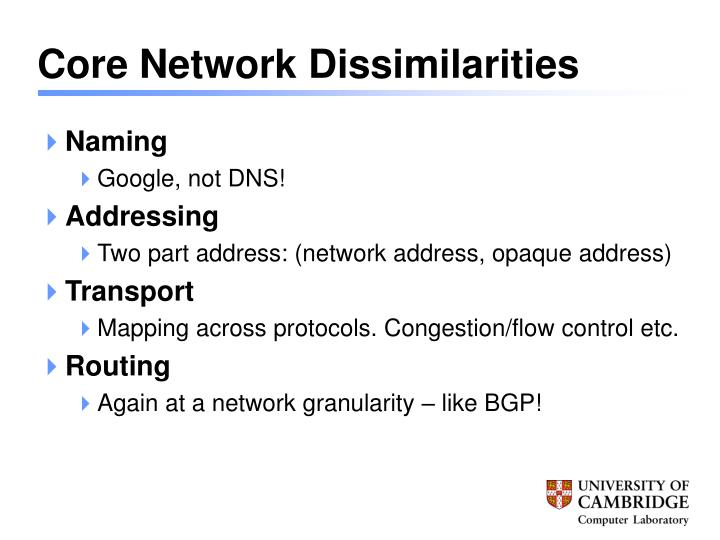 Core Network Dissimilarities