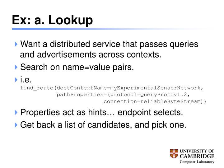 Ex: a. Lookup
