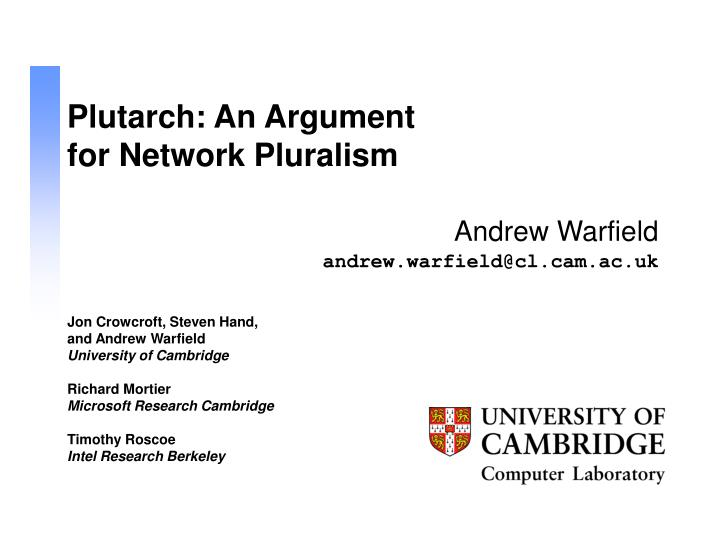 Plutarch an argument for network pluralism
