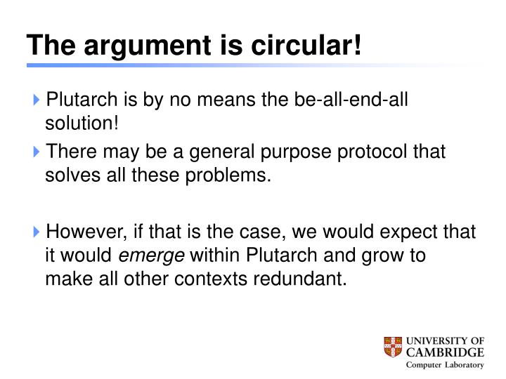 The argument is circular!