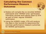 calculating the common performance measure outcomes