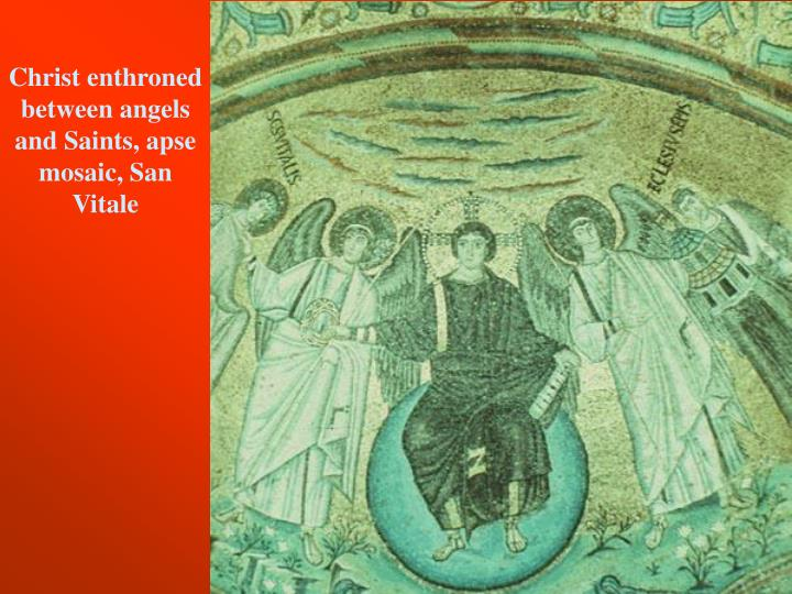 Christ enthroned between angels and Saints, apse mosaic, San Vitale
