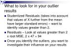 what to look for in your outlier results