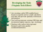developing the tools virginia tech effort