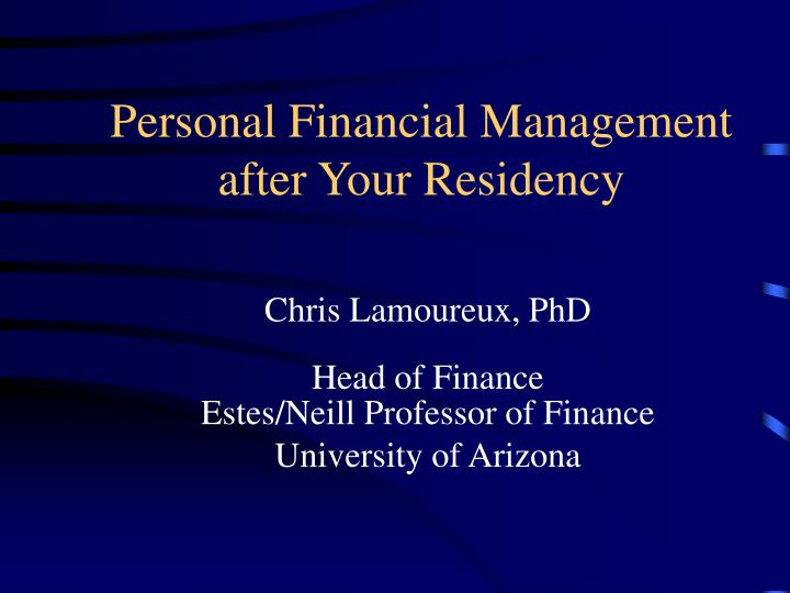 personal financial management after your residency n.