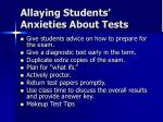 allaying students anxieties about tests