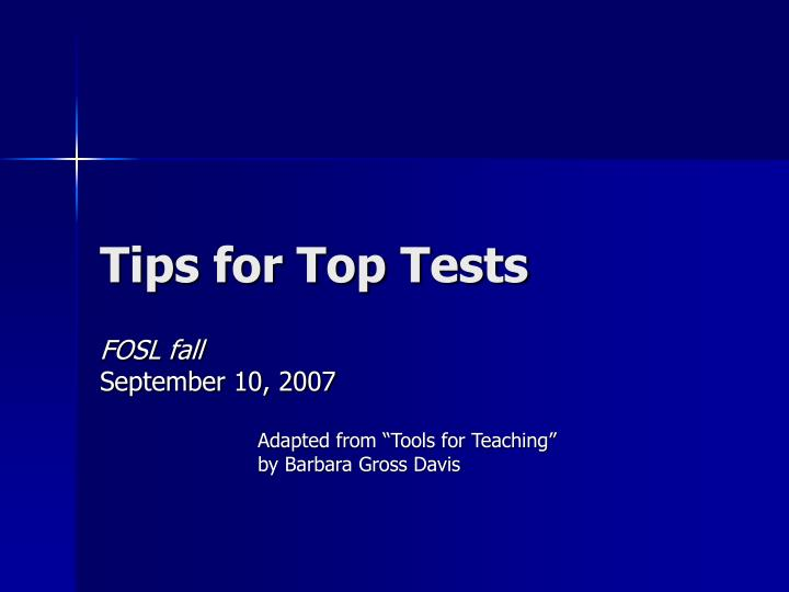 tips for top tests n.