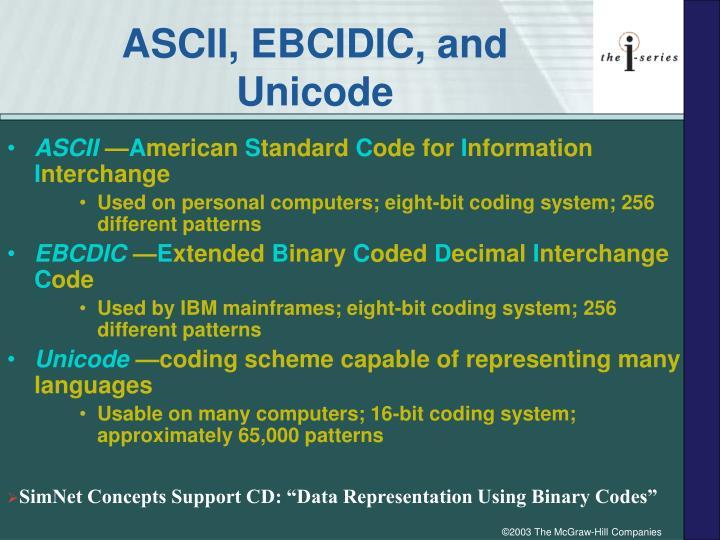 ASCII, EBCIDIC, and Unicode