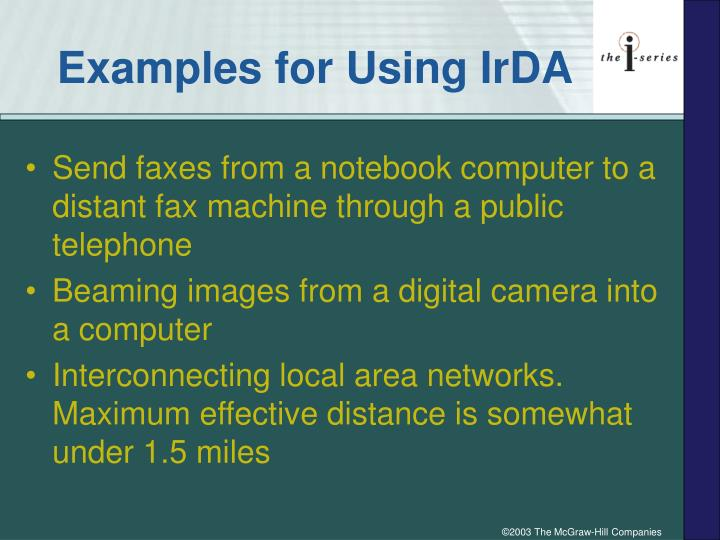 Examples for Using IrDA