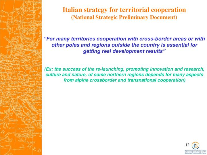 Italian strategy for territorial cooperation