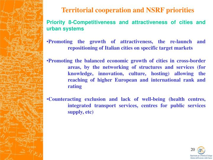 Territorial cooperation and NSRF priorities