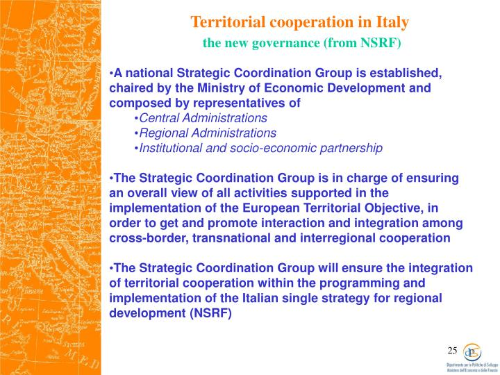 Territorial cooperation in Italy