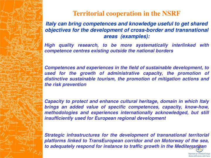 Territorial cooperation in the NSRF