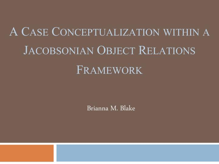 a case conceptualization within a jacobsonian object relations framework n.