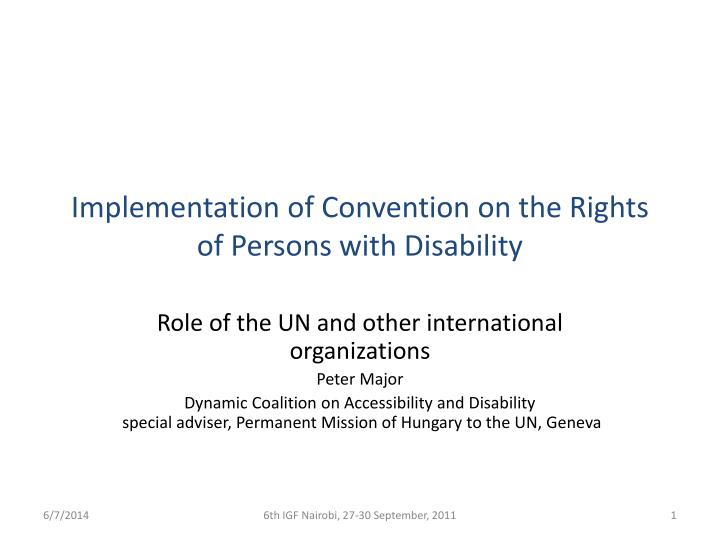 implementation of convention on the rights of persons with disability n.